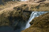 Skogafoss Waterfalls View From Above From Observation Platform, It Is One Of The Most Tourist Attrac poster