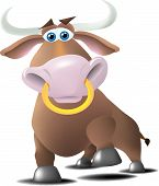 stock photo of nose ring  - A bull with a ring in his nose in a charging or a proud pose - JPG