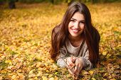 A portrait of a beautiful young woman lying on the ground with golden autumn leaves. Lifestyle, autu poster