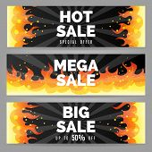 Fire Sale Banners. Firing Backgrounds With Big Sale Text, Burning Flames Banner Set For Hot Sales Ve poster