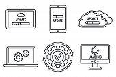 Computer System Update Icons Set. Outline Set Of Computer System Update Vector Icons For Web Design  poster