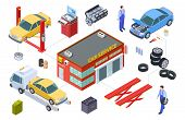 Car Service Isometric Concept. Vector Venicle, Tire Service Illustration. Cars, Building, Repair Too poster