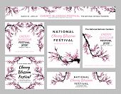 Cherry Blossom Template Set With Hand Drawn Branch With Cherry Flowers Blooming.  Sakura Blossoming  poster