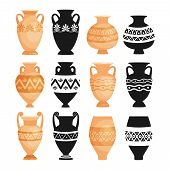 Ceramic Ancient Bowls. Ancients Decorative Pottery Objects Vector Illustration, Greece Clay Craft Po poster
