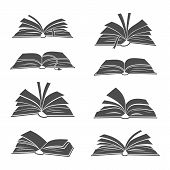 Books Black Silhouettes Illustration. Vector Open Book Icons For Science, School Studying And Readin poster