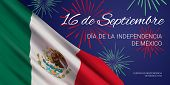 Vector Banner Design Template With Flag Of Mexico, Fireworks, And Text On Blue Background. Translati poster