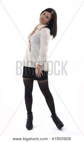 young brunette lady on the white background