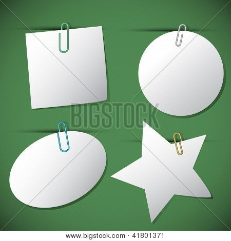 Set Of Note Papers With Paperclip,