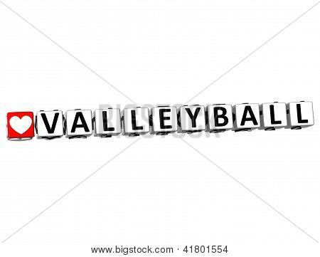 3D I Love Valleyball Game Button Block Text On White Background