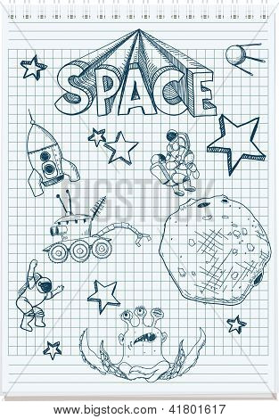 sketch illustration of space themed