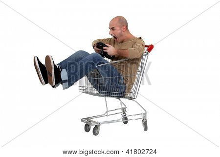 Man pretending to drive trolley