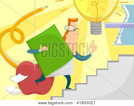 Illustration of a Male Teacher Carrying an Oversized Book Running Up a Flight of Stairs
