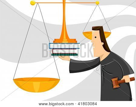 Illustration of a Male Judge Using the Scales of Justice to Weigh Evidence