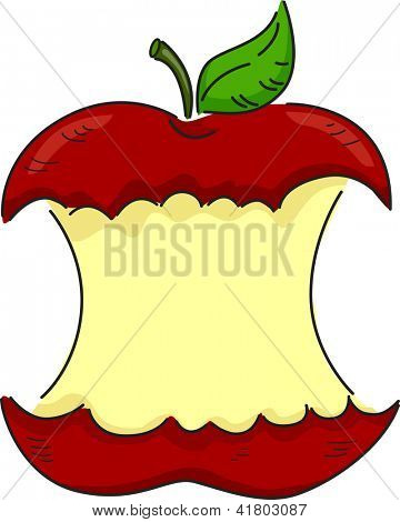 Illustration of a Red Apple Partially Bitten with Space for text