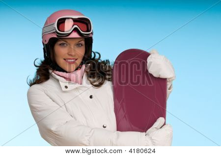 Fashion Model In Pink And White Winter Outfit