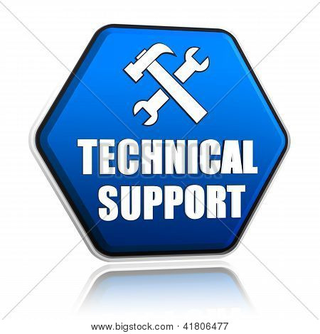 Technical Support And Tools Sign In Hexagon Button