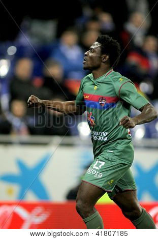 BARCELONA - FEB, 2: Obafemi Martins of UD Levante celebrating goal during a Spanish League match between Espanyol and Levante at the Estadi Cornella on February 2, 2013 in Barcelona, Spain