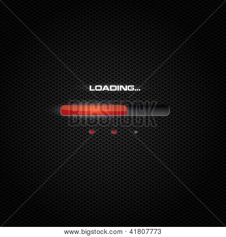 Red loading bar on dark carbon background