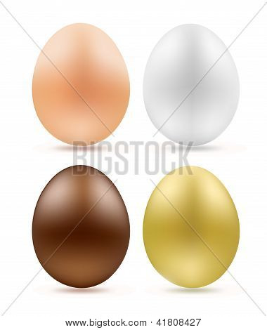 Set Of Eggs Simple Chocolate And Golden On White