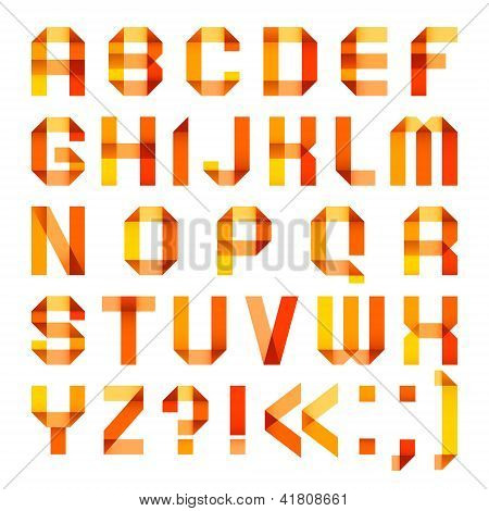 Spectral letters folded of paper ribbon-orange