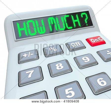 Uma calculadora de plástica mostrando as palavras quanto à figura a quantidade você pode salvar ou pagar um FIN