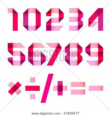 78_spectral Letters Folded Of Paper Pink & Magenta Ribbon - Arabic Numerals.jpg