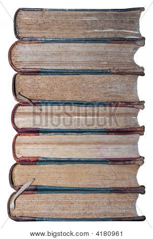 Isolated Stack Of Ancient Book'S Binding Edges