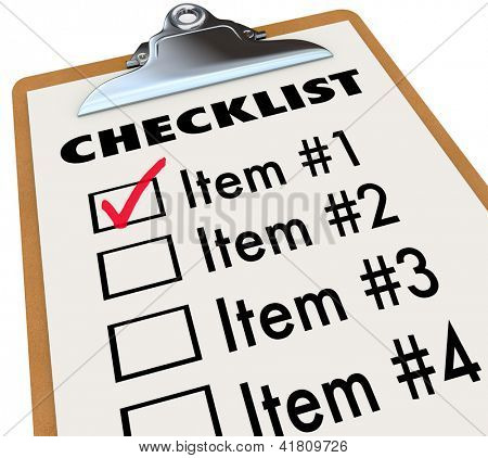 A checklist on a wood and metal clipboard with a check next to the first item, a list of things you have to do today - tasks, to-dos, chores or other items