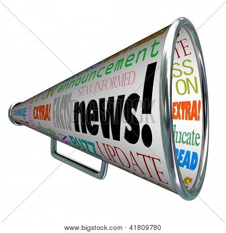The word News on a megaphone or bullhorn and many associated words such as extra, message, update, alert, awareness, buzz and more