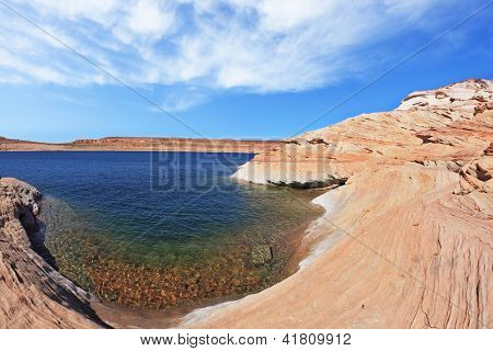 The blue water in the desert rock. Bottling magnificent Lake Powell photographed by Fisheye lens