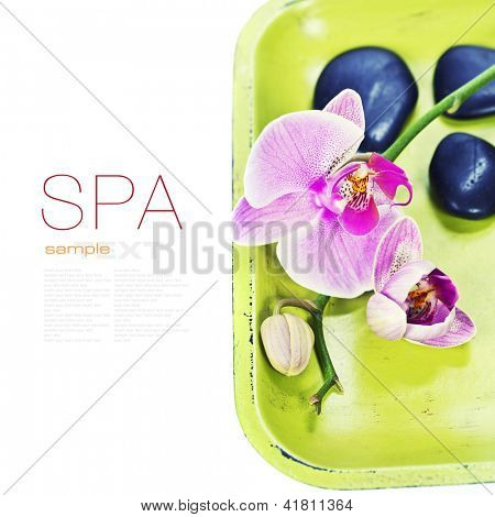 Pink orhid and Zen pebbles on a green bamboo plate. Spa and healthcare concept (with easy removable sample text)