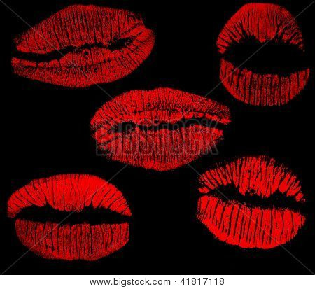 red lips imprints collection isolated on black background