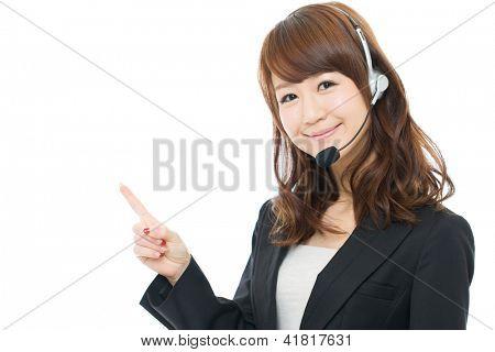 Beautiful asian businesswoman on white background