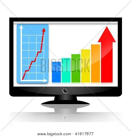 Business statistical graph on monitor