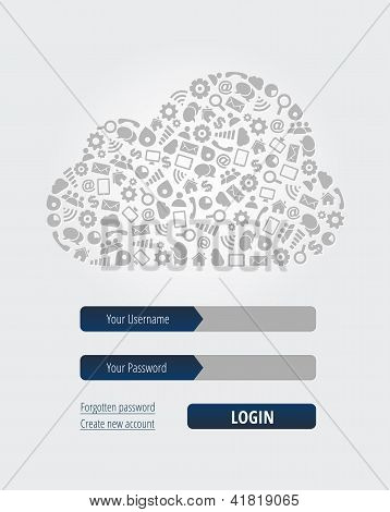 Formulário de Login de computação em nuvem