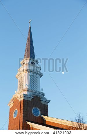 Early Morning Steeple With Moon