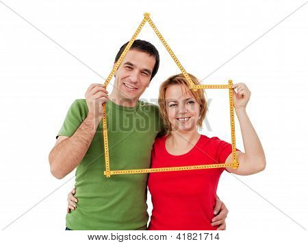 Happy Couple With Meter