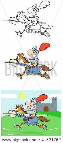 Knight Riding Horse Cartoon Characters Collection