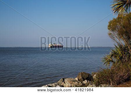 Dredging Ship Near Bridge