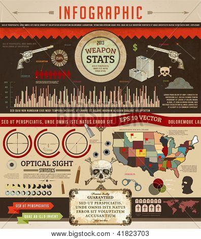 Set elements of weapon infographics for retro design, eps 10 vector illustration