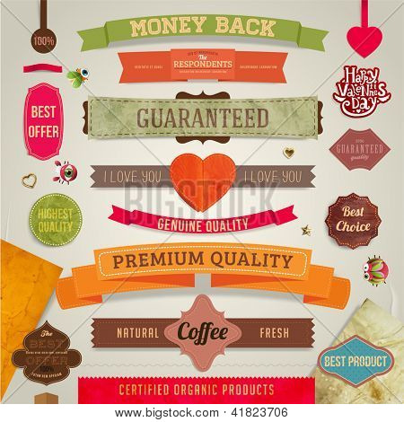 Set of vector retro ribbons, old dirty paper textures and vintage labels, banners and emblems. Hearts and Valentine's day label. Elements for design.