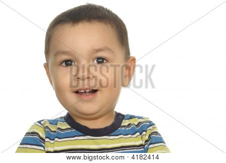 One Year Old Hispanic Boy Over White