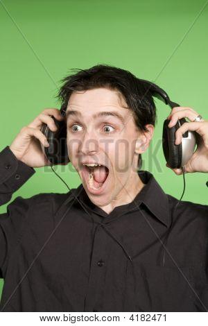 Man Listening To Unplaisant Music