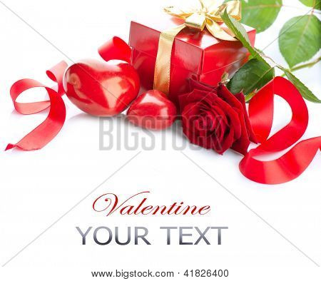 Valentine. Valentines Hearts, Rose Flower and Gift Box isolated on white Background. Red Valentine's Day Border Art Design
