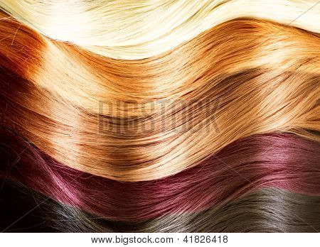 Paleta de colores de pelo. Textura del pelo