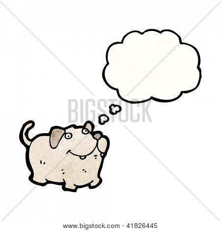 cartoon fat little dog with thought bubble