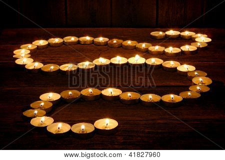 Meditation Candles Glowing In Spiritual Zen Path