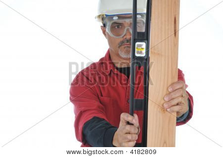 Construction Worker With Level And Board