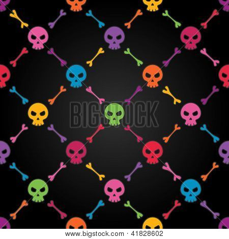 Multicolor seamless pattern with skulls.