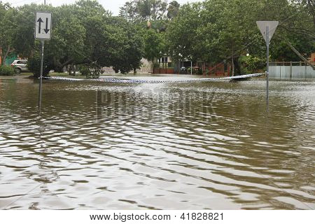 Brisbane, Australia - January 28 : Police Tape Accross Flooded Street From Ex Tropical Cyclone Oswal